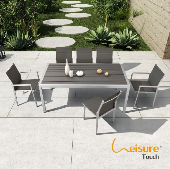 Aluminum Plastic Wood Dining Table
