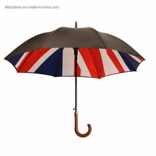 Automatic Umbrella Double Layer Windproof Rain Water Storm Sun Proof Wooden Handle Umbrellas