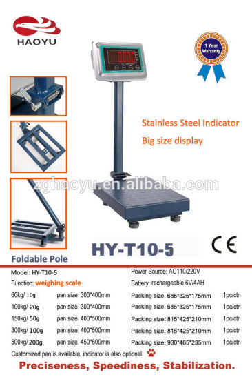 Carbon Steel Frame Electronic Platform Weighing Scale 100kg 20g pictures & photos
