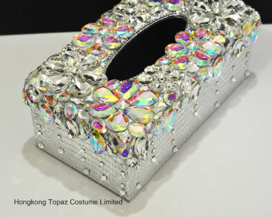 Hotel Restaurant Leather and Rhinestone Facial Tissue Paper Holder Crystal Napkin Box (TB-010) pictures & photos