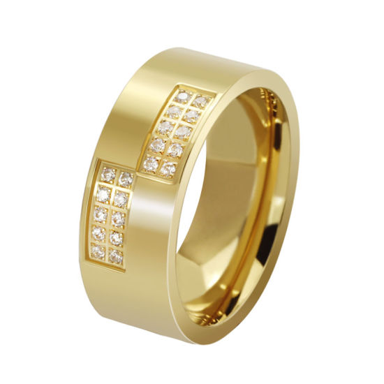 Diamond Rings CNC Setting Stainless Steel Jewelry in Gold
