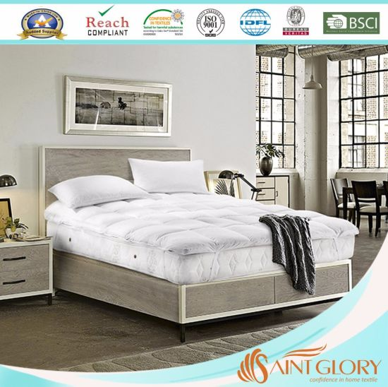 China King Duck Or Goose Down Feather Mattress Topper Featherbed