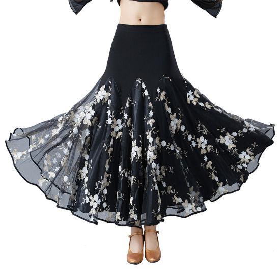 ad88fe785 China White Flowers Long Swing Modern Standard Ballroom Skirt for ...