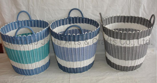 Round Pe Storage Basket Waterproof Woven Laundry In Bathroom