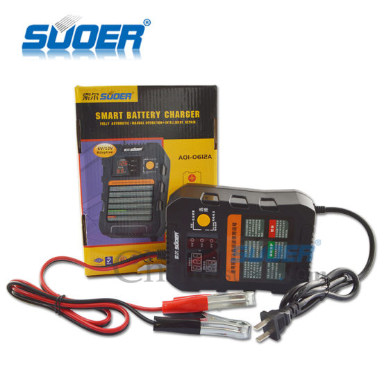 Suoer Intelligent Smart Fast Charger 6V 12V Automatic Battery Charger with Three Phase Charging Mode (A01-0612A) pictures & photos