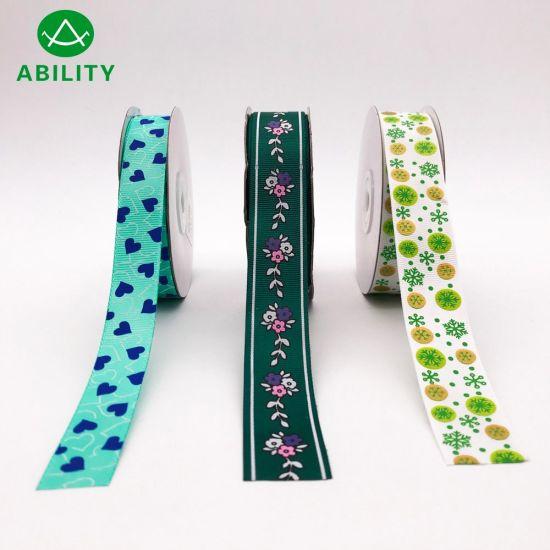 Beautiful Christmas Printed Gift Polyester Grosgrain Ribbon Satin Ribbon