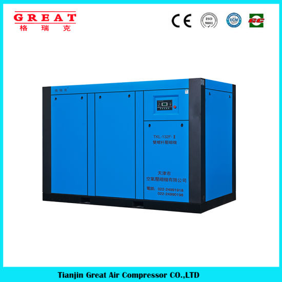 China Brand Great 11kw/15HP 100cfm, 120cfm, 125cfm, 90kw, 110kw, 132kw 7bar, 8bar, 10bar 13bar Oil Injected Stationary Industry Rotary Screw Air Compressor