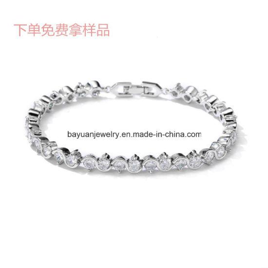 China Tennis Bracelet Women Cubic Zirconia Crystal Bangle Wedding