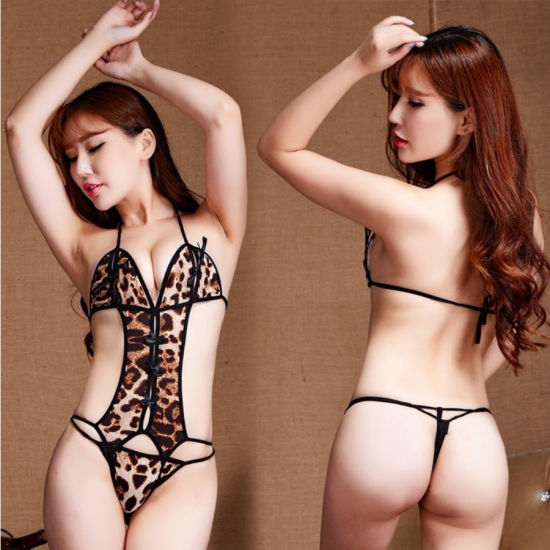 Wholesale High Class Erotic Fashion Lady Slim Hot Sexy Women Tight Leopard Print Sexy Lingerie Underwear pictures & photos