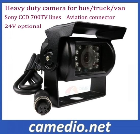 600 700 Tvl Sony CCD Waterproof Heavy Duty Camera for Front&Rear&Side View 24V with Aviation Connector pictures & photos