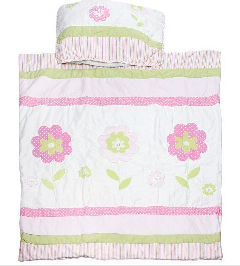 Baby 2PCS Crib Set with Quilt & Pillow Pink Flower for Baby Girl