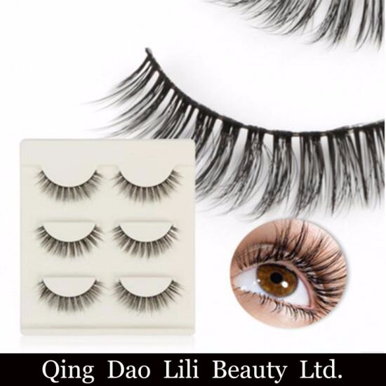140297b78f8 3 Pairs Handmade Real Mink Fur False Eyelash 3D Mink Lashes Thick Fake Faux  Eyelashes Makeup