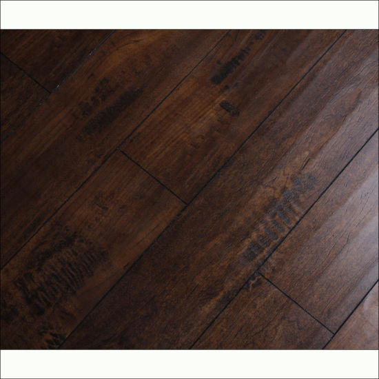 Light Black Rustic Style Handscraped Grain Laminate Flooring With V Groove