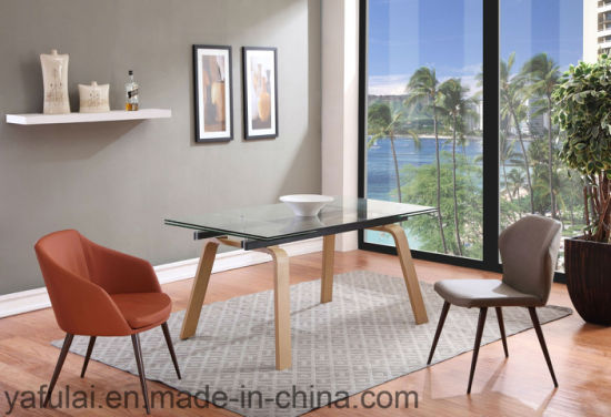 Extension Furniture Glass Top With Ash Wood Leg Dining Table