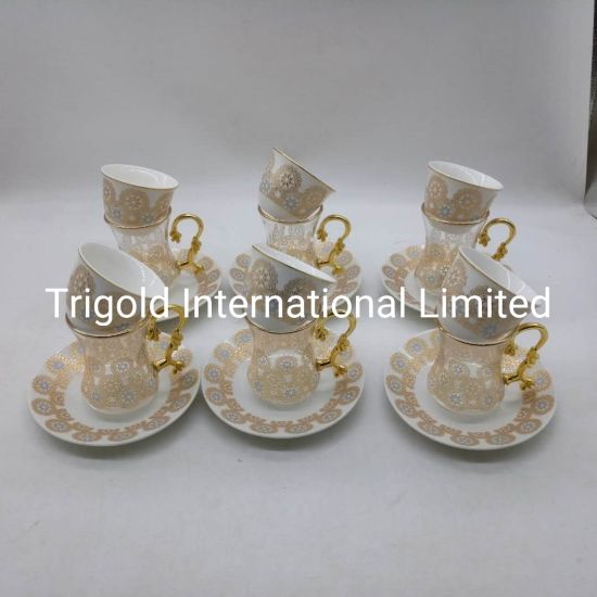 Turkish Tea Set for 6 - Decorated Glasses with Ceramic Cup and Saucer