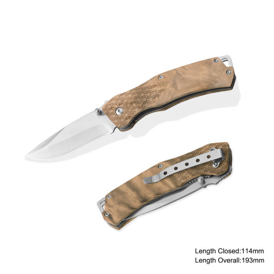 Folding Knife with Wooden Handle (#3988)