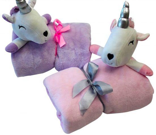 Baby Unicorn Blanket Set with Stuffed Animal Plush Toy