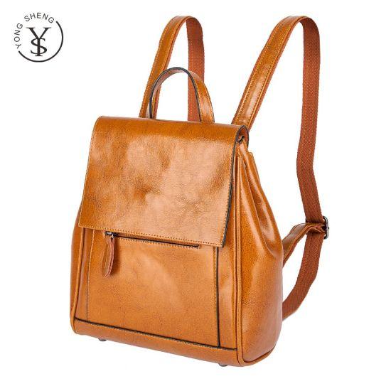 Fashion Genuine Leather Wholesale Design School Bags Handmade Backpacks for Women