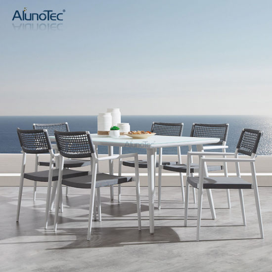 Luxury Outdoor Furniture Garden Patio Dining Table Rustproof Fabric 6 Seaters Dining Set