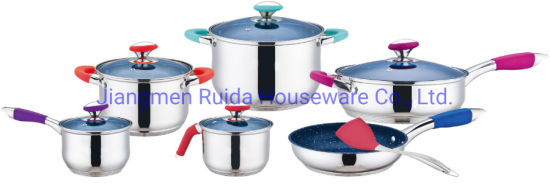 New Design Colorful Silicone Handle 12PCS Stainless Steel Cookware Sets