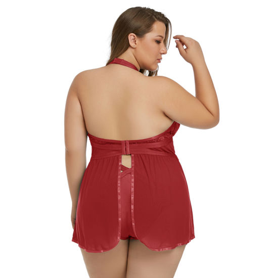 334f8d99858 Wholesale Sexy Women Black Plus Size Sheer Fantasy Babydoll Lingerie Set