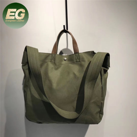 Simple Shopping Unisex Large Bag Canvas with Leather Handbags Ga23 pictures & photos