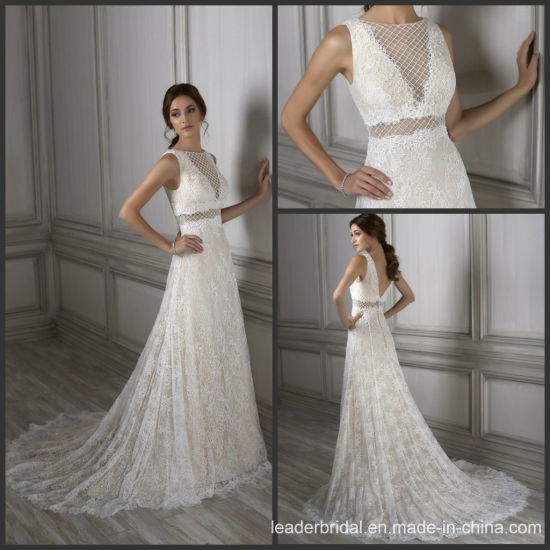 China Lace Bridal Ball Gown Diamond Check Wedding Dress Gowns