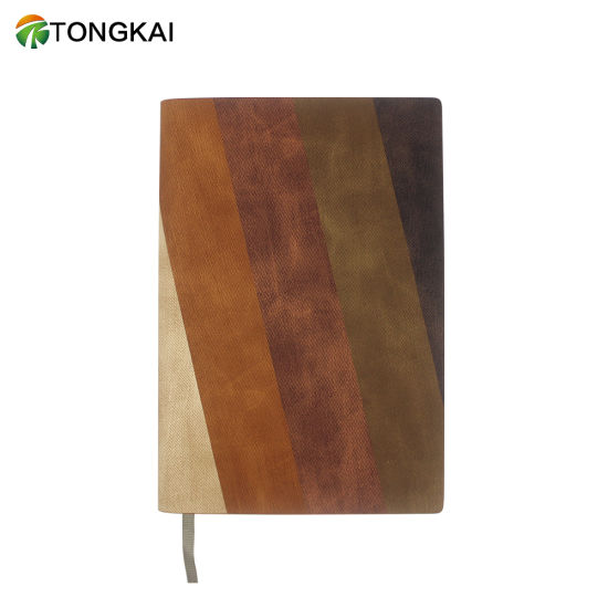 Custom A5 Three Colors Stitched PU Leather Notebook Notepad with Ruled Lines Page