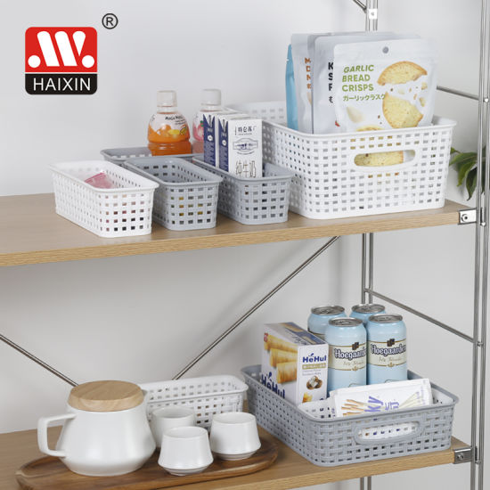 Rectangle Small Plastic Storage Basket for Bathroom, Kitchenware, Office Stataionery Organizer