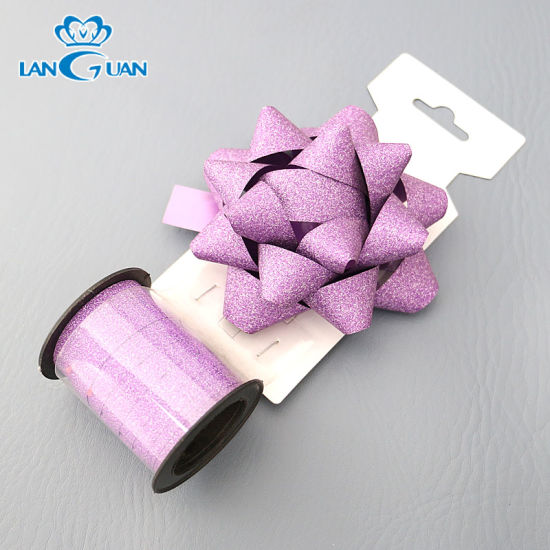 Purple Glitter Flower Indoor Christmas Bow for X'mas Decoration