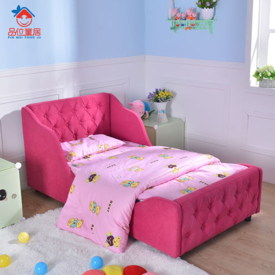 Hot Sell Rose Buckle Kids Bed Child Room Furniture Bed