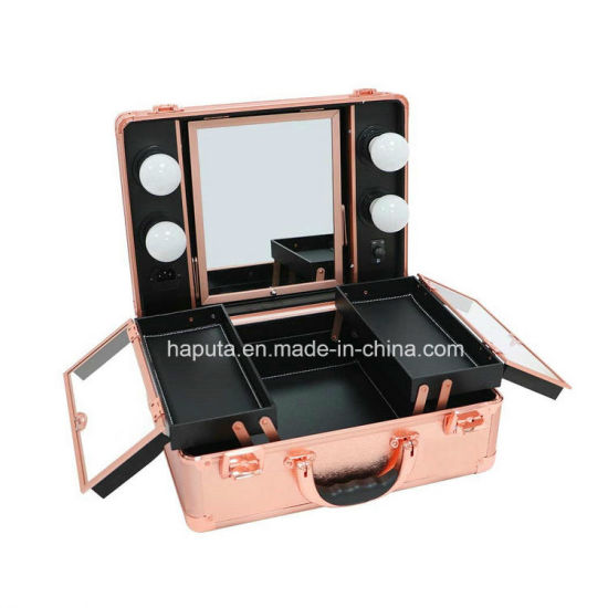 Makeup Train Case, PRO Aluminum Cosmetic Organizer Box Bag with LED & Mirror, Large Capacity Beauty Artist Cosmetic Tools Storage Kit (Rose Gold)