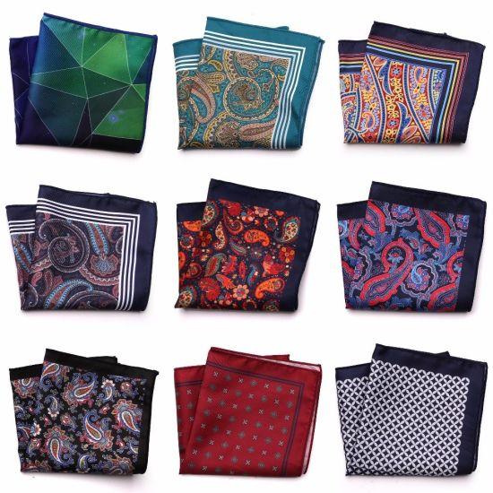 Men's Polyester Hankerchief Paisley Polka DOT Floral Printed Hankies Pocket Squares