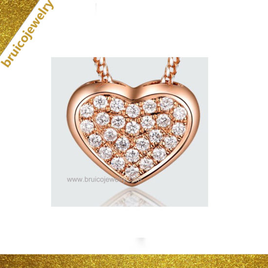 Wholesale 14K Gold-Plated Zircon Jewelry Fashion Heart Design Diamond Necklace for Ladies