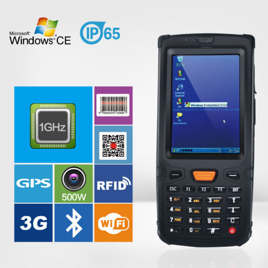 Ht380w Handheld Terminal Barcode Scanner Nfc Rfid Wifi 3g Gps Bluetooth Win Ce Window Rugged Pda
