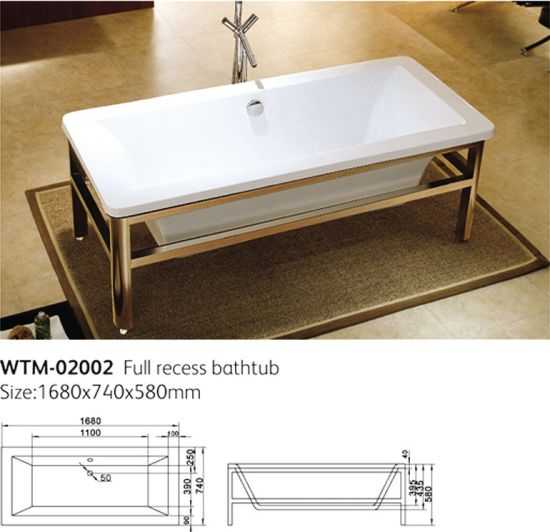 Upc Stainless Steel Frame Foot Freestanding Bathtub