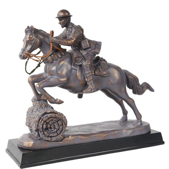 2020 Wholesale Polyresin Gift and Craft Sculpture Home Decor Cavalry Horse Charge Resin Statue