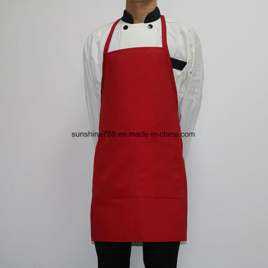 Hot Sale Restaurant Barista Kitchen Cooking Work Red Bib Apron