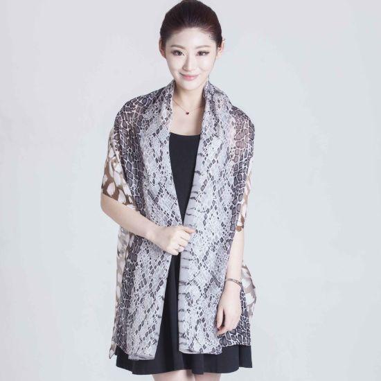 Custom Digital Printed 100% Silk Chiffon Scarf for Fashion Ladies
