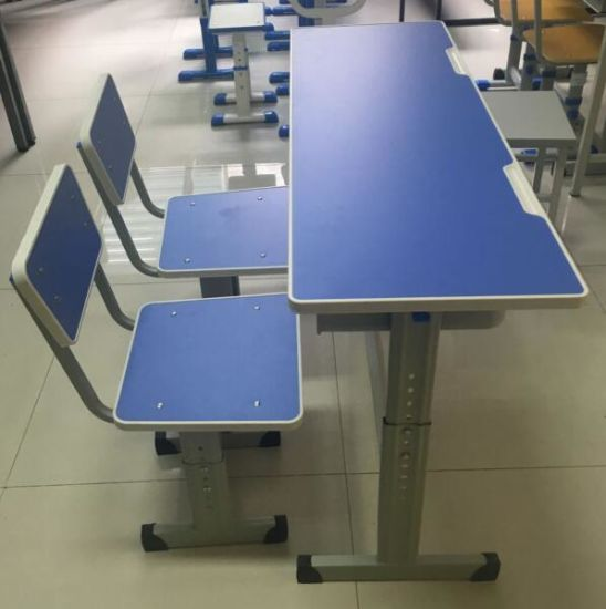 Height Adjustable Student Desk and Chair with Good Quality pictures & photos