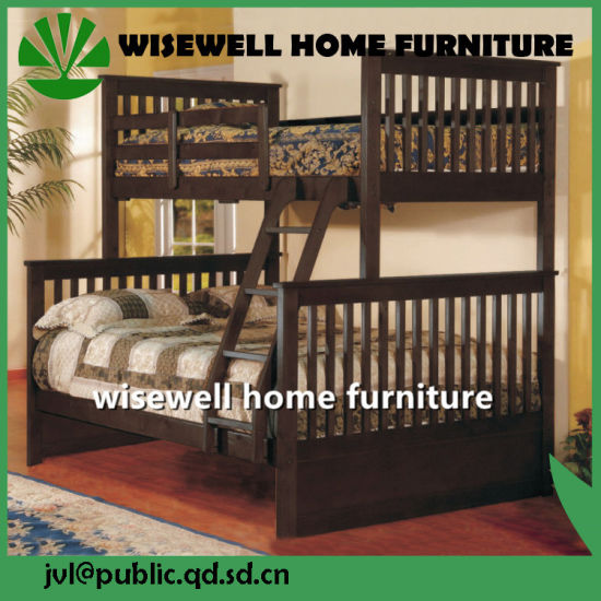 Pine Wood Triple Bunk Bed Modern Bedroom Furniture (WJZ-B71) pictures & photos