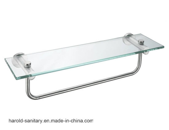 China Bathroom Glass Shelf With Towel Bar China Bathroom