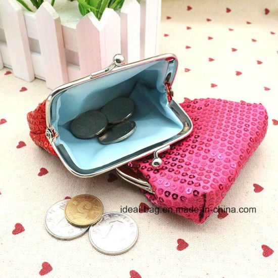 Wholesale China Cheap Small Cute Kiss Lock Frame Sequin Woman Evening Party  Clutch Coin Purse