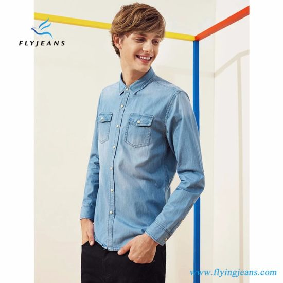 3c0aae86eb4 Fashion Simple Slim Long Sleeves Men Thin Type of Denim Shirts by Fly Jeans