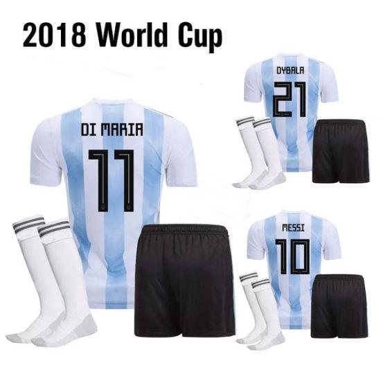 2018 New World Cup Wholesale Soccer Jersey Blue and White Soccer Uniforms  Camisetas De Futbol cc502ccee