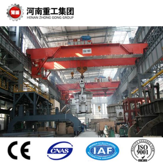 FEM/ISO Standard YZ Type 75/20~160/40t Four Beam Casting/Foundry Overhead Traveling/Bridge Crane For Steel Plant pictures & photos