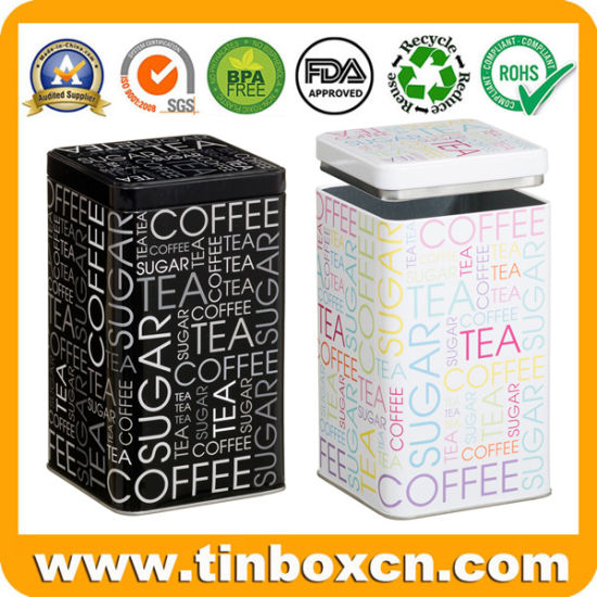 Custom Square Suger Coffee Tea Metal Box Storage Tin with Airtight Inner Lid pictures & photos