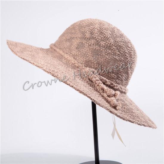 Widebrim Lady Summer Hat Lien Straw Bucket Hat
