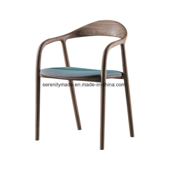 High Quality Restaurant Wooden Dining Room Chair with Leather Seat