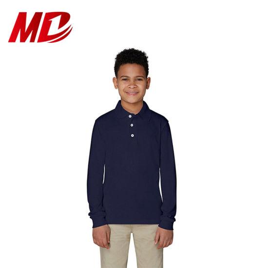 Primary School Uniform Long Sleeve Polo Shirts for Boys
